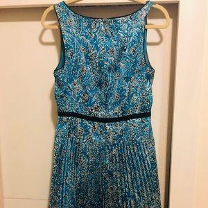 Ann Taylor Blue Pleated Floral Dress